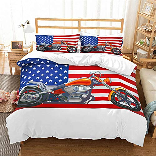 Double Duvet Cover Set Motocross Racer Grey City and Motorcycle 3D Print Quilt Cover Set with 2 Pillow Shames Lightweight Soft Microfiber Bedding Sets with Zipper Closure 3PCs-A_EU-SuperKing260x220cm