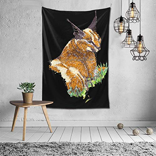 Lawenp Wanddekoration Boker Caracal Cat Fat Cute Tapestries for Dorm Living Room Bedroom TV Backdrop Table Cloth Wall Blanket Beach Towels Profession Home Decor 60X40 Pattern Inches