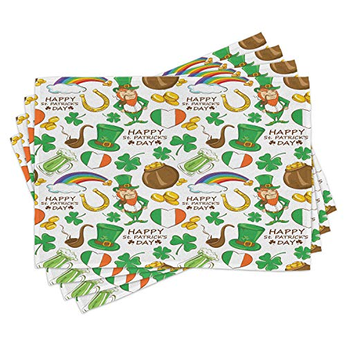 Ambesonne St. Patrick's Day Place Mats Set of 4, Irish Party Pattern Beer Leprechaun Flag Hearts Rainbow Gold Shamrock, Washable Fabric Placemats for Dining Room Kitchen Table Decor, Shamrock Green