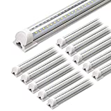 Barrina LED Shop Light, 4FT 40W 5000LM 5000K, Daylight White, V Shape, Clear Cover, Hight Output, Linkable Shop Lights, T8 LED Tube Lights, LED Shop Lights for Garage 4 Foot with Plug (Pack of 10)