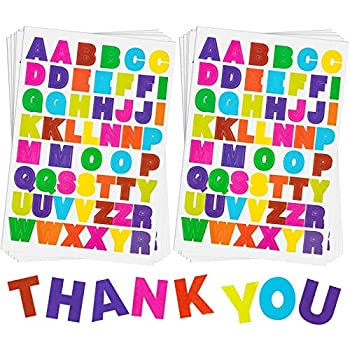 20 Sheets Alphabet Letter Stickers 10 Colors Self Adhesive Sticker Colorful PU Material Convex Feeling  Colored Letter Stickers 1