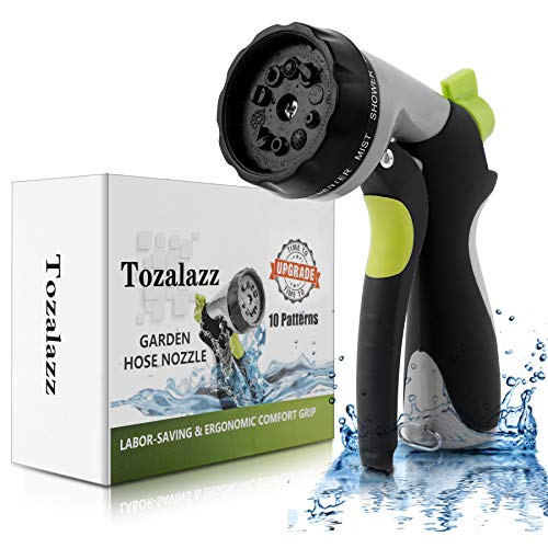 Tozalazz Garden Hose Nozzle, High Pressure Heavy Duty Metal Hose Sprayer, Upgraded Water Hose Nozzle with 10 Adjustable Watering Patterns, Great for Car Washing, Cleaning, Watering Lawn and Garden