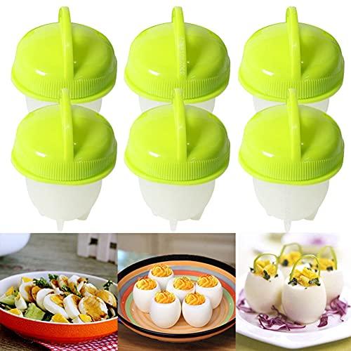 Juego de 6 huevos, huevos de silicona antiadherente, sin separador de cáscara, gel de sílice para hacer huevos (verde)