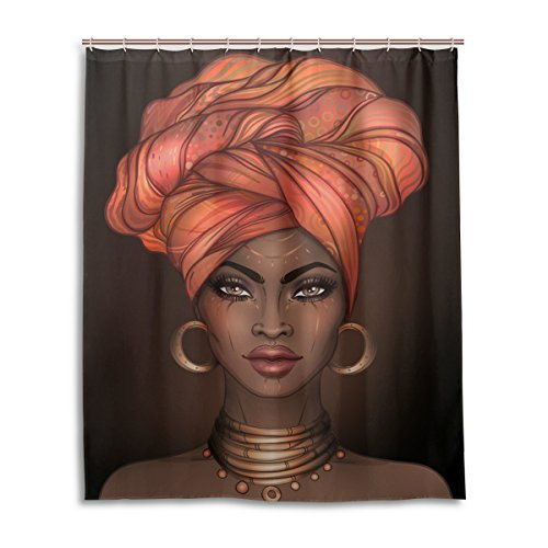Bathroom Decor Shower Curtain African American Woman Waterproof Artistic Polyester Fabric Shower Curtain 12 Self Grommets Eco-Friendly 60 x 72