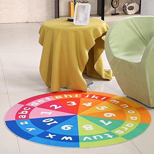 Tapis ronds à motifs pour enfants, coussins pivotants pour ordinateur, coussins de levage de panier, meubles lavables antidérapants (Couleur : Color numbers, taille : 80cm)