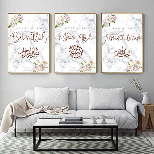 wymhzp Canvas Print Islamic Wall Art Printing Painting for Home Decor Arabic Calligraphy Poster Watercolor Flowers Pictures Art 50x70cmx3 No Frame