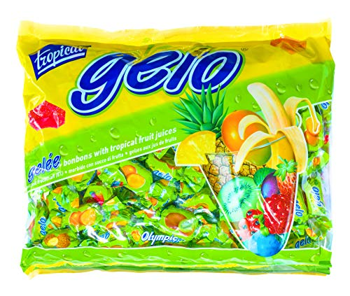 Gelo Assorted Bonbons Kosher with Tropical Fruit Juices Gummy Candy Party Candy individually wrapped Soft & Chewy Candy Variety of 5 Different Flavors Bulk Pack 1 Kg (2.2 Pounds)