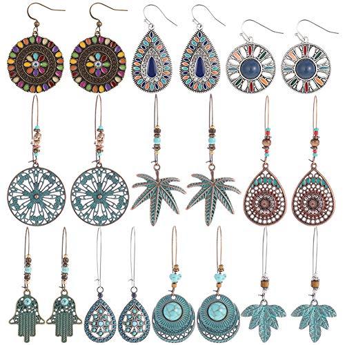 Opopark 10 Pares Pendientes Colgantes Vintage Bohemios, Pendientes Retro de Diamantes de Imitación Pendientes Colgantes Boho para Mujeres Niñas