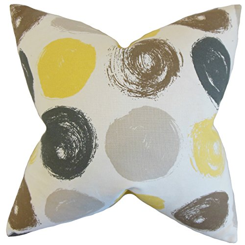 The Pillow Collection P18-RPB-BRUSHEDDOT-CITRINE-C100 - Almohada geométrica de xenófono, Citrino