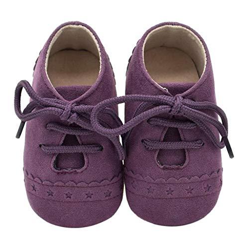 Zapatos Bebé Niña 2019 SHOBDW Zapatos Bebé Niño Verano Suela Suave Antideslizante Zapatillas Ata para Arriba Zapatos Bajos Linda Zapatos Bebé Recién Nacida Zapatos Bebe Primeros Pasos(Morado,12~18)