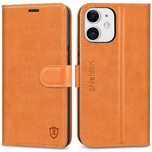 """SHIELDON Case for iPhone 12 Mini, Genuine Leather Wallet Case for iPhone 12 Mini RFID Blocking Card Holder Magnetic Closure Stand Flip Shockproof Case Compatible with iPhone 12 Mini 5G 5.4"""" - Brown"""