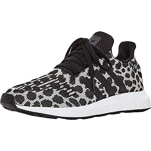 adidas Women's Swift Run Sneaker, Raw White/Core Black/Carbon, 8