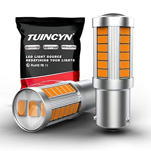 TUINCYN BAU15S PY21W Bombilla LED Bombilla de luz intermitente amarilla ámbar 5630 33SMD 1156 7507 12496 5009 7507AST Luz de freno Luz de marcha atrás CC 12V (paquete de 2)