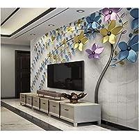Iusasdz カスタム3D壁紙レトロな三次元壁画エンボスカラーメタルフラワーテレビ背景壁紙家の装飾3D壁紙-280X200Cm