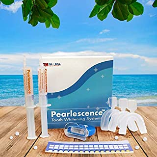 Pearlescence Teeth Whitening System Photo-Initiated Gel Kit 44% Mint, 2 x 10ml / cc Gel + 3 Boil and Bite Trays + LED Light + Paper Shade Guide