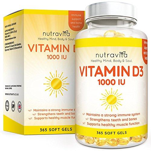 Vitamina D3 1000 UI - 365 Cápsulas de Gel de Colecalciferol (Suministro Para Un Año) - Vitamina D Contribuye al Mantenimiento de Huesos y Dientes Normales - Hecho en el Reino Unido por Nutravita