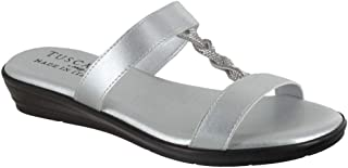 Easy Street womens Slide Sandal, Silver, 6 XW US