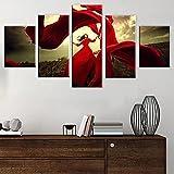 HAOQIPA Cuadro Moderno En Lienzo 5 Piezas Vestido Rojo Niña Póster De Arte Moderno Oficina Sala De Estar O Dormitorio Decoración del Hogar Arte De Pared(150x80CM)