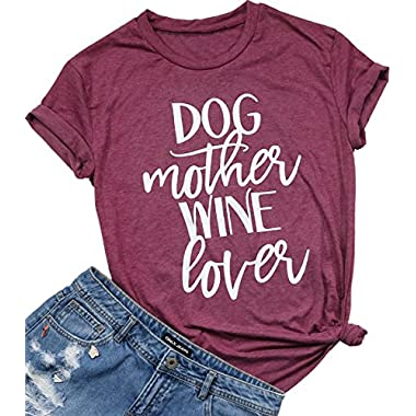 Dog Mother Wine Lover Letters Print Tops Funny T-Shirt Casual Short Sleeve Blouse Size XXL (Burgundy)