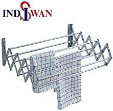 INDISWAN™ Wall Mounting Foldable Clothes & Towel Drying Rack Cum Hanger Stainless Steel (2.0 Feet)