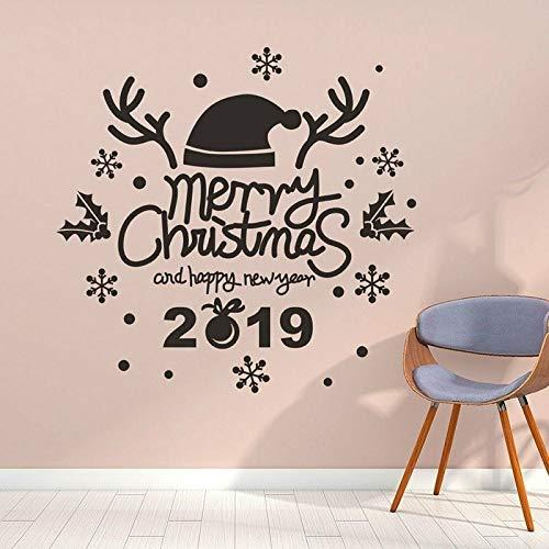 Tong99 Kerst Sneeuwvlok Muur Kerstmuts Gesneden Muur Sticker, Slaapkamer Woonkamer Decor, Kinderkamer Decor 44 x 42 cm