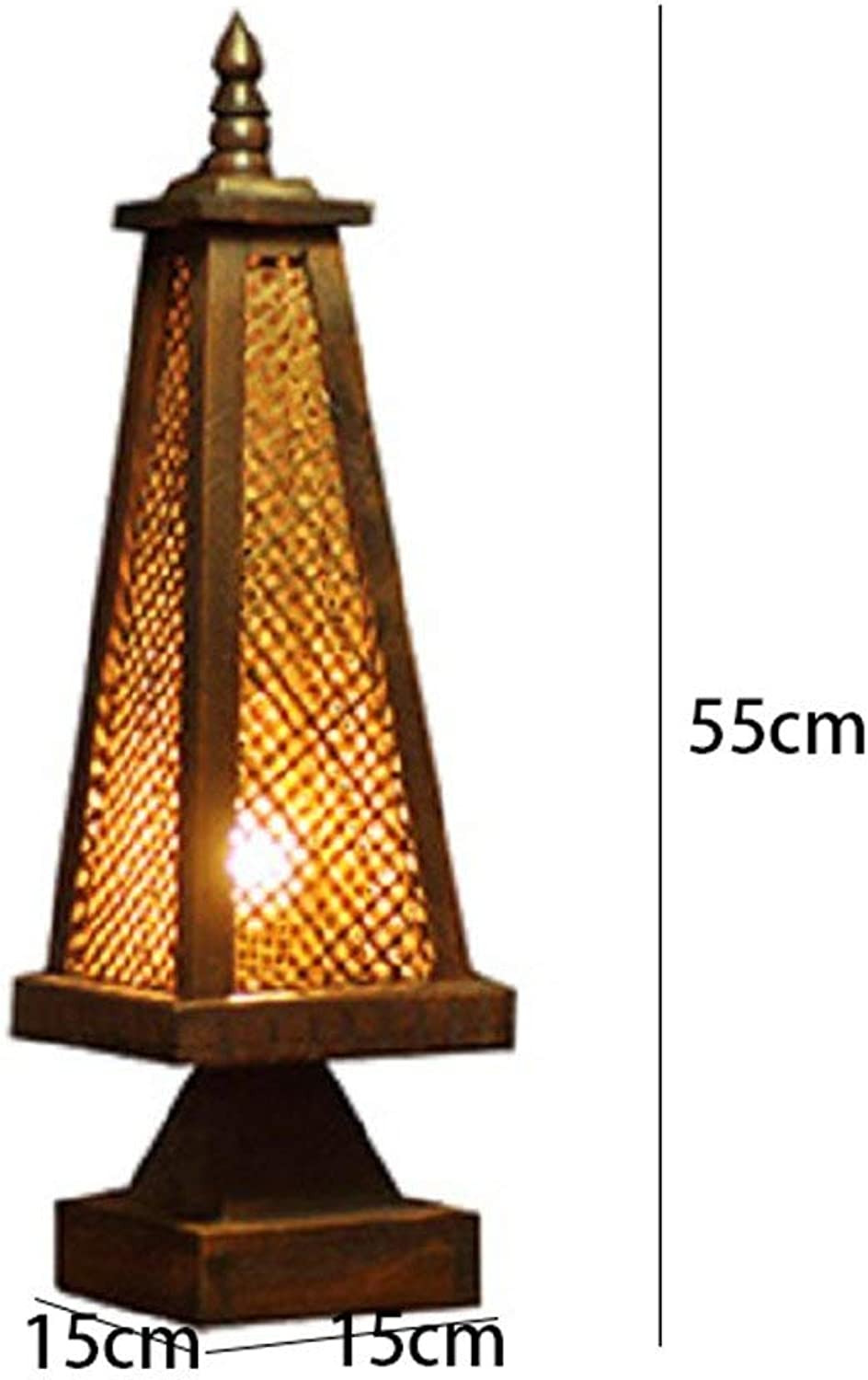 WHKFD Thailand Carved Wooden Vintage Lights of Thailand Southeast Asian Hotel Club Lights, Bedside Table Manual, H52  W15Cm