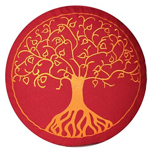 Yogakissen Meditationskissen mit Stickerei Baum des Lebens 33x25cm mit Dinkelspelz gefüllt - Bezug und Inlett 100% Baumwolle (buddhistisch rot H:...