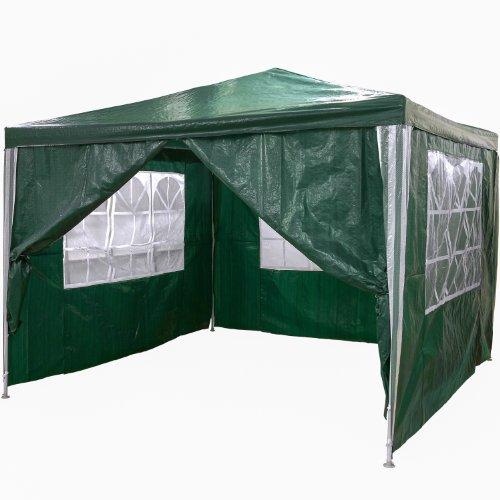 Pavillon 3x3m WASSERDICHT + 4 Seitenteile (3x mit Fenster + 1x mit Reißverschluss), Farbwahl: weiß blau grün rot schwarz, inkl. Heringe + Spannseile - 2