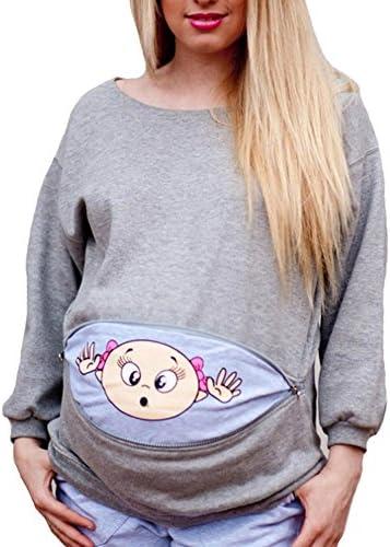 con texto en ingl/és ManMan Camiseta de maternidad divertida para mujer manga larga