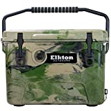 Elkton Outdoors Ice Chest. Heavy Duty, High Performance Roto-Molded Commercial Grade Insulated Cooler, 20-Quart, Camo