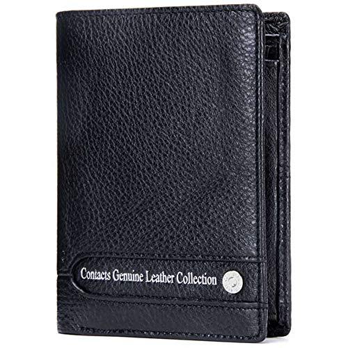 GHYDDC slank lederen drievoudige portemonnee voor mannen, heren vintage lederen portemonnee, heren portemonnee grote capaciteit, rits muntzak, voor zaken en alledaags, met geschenkdoos