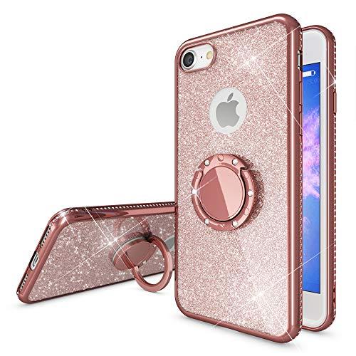 NALIA Ring Hülle kompatibel mit Apple iPhone 8, Glitzer Handyhülle Ultra-Slim Silikon Case Back-Cover mit 360-Grad Fingerhalterung, Schutzhülle Glitter Handy-Tasche Bumper Bling Etui, Farbe:Rose Gold