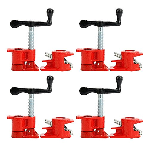 (4 Pack) 3/4' Wood Gluing Pipe Clamp Set Heavy Duty PRO Woodworking Cast Iron