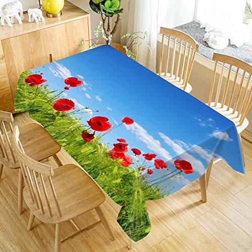 XXDD Mantel de Flores de Amapola roja Que Imprime Impermeable y a Prueba de Aceite para el hogar Rectangular Cubierta de Mesa Cuadrada Mantel a Prueba de Polvo A11 150x210cm