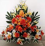 roselynexpress Composition de Fleurs artificielles lesté Ciment pour Une Parfaite Tenue à l' extérieur. Réalisé par nos Soins, Fleurs de très Bonne qualité.
