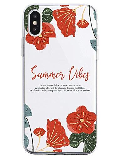 Suhctup Compatible con iPhone 6/iPhone 6S Funda Flor de TPU Transparente Diseño de Flores Patrón Cárcasa Ultra Fina Suave con Dibujos Claro Silicona Antigolpes Proteccion Caso(A7)