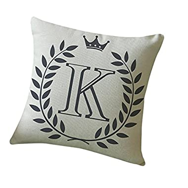 Sikye Letters Pattern Flax Pillow Case Sofa Home Decor Cushion Cover Throw Pillow Case 18  x 18  (K)