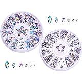 Gemas de Arte de Uñas Decoración de Diamantes de Imitación de Uñas 3D Cristal Materiales de Arte de Uña de Dedo con Caja de Almacenaje, 2 Formas