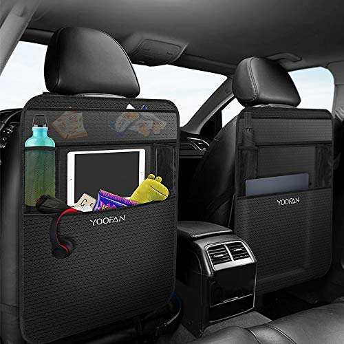 An image of the YOOFAN Car Organiser (2 Pack) Universal Car Seat Organiser Kids, Durable Car Organiser Back Seat, Car Storage Organiser, Seat Back Protectors with Large Pockets, Car Tablet Holder, Cup Holder