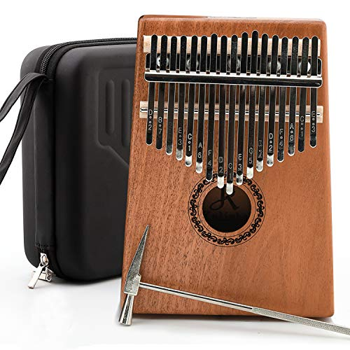 JDR 17 Keys kalimba, Thumb Piano with EVA Waterproof Hard Protective Case, Tuning Hammer and Music book, Unique and great birthday gift for musicians or kids without any musical basis