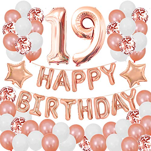 Succris 19TH Birthday Decorations for Girls and Women 19th Birthday Decorations 19 Years Old Birthday Party Supplies Happy Birthday Banner Rose Gold Confetti Balloons Rose Gold