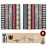 Heat Transfer Vinyl Christmas Buffalo Plaid Leopard 12 Sheets Iron on Vinyl for T-Shirt Fabric Craft Pattern,PU HTV Bundle Vinyl for Cricut Clothes Bag Hat Pillow Crafts(12''X10'')