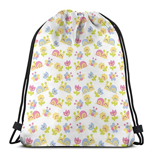 DPASIi Drawstring Shoulder Backpack Travel Daypack Gym Bag Sport Yoga,Nature Inspired Drawing Style Happy Slugs Dandelions Tulips And Butterflies,5 Liter Capacity,Adjustable.