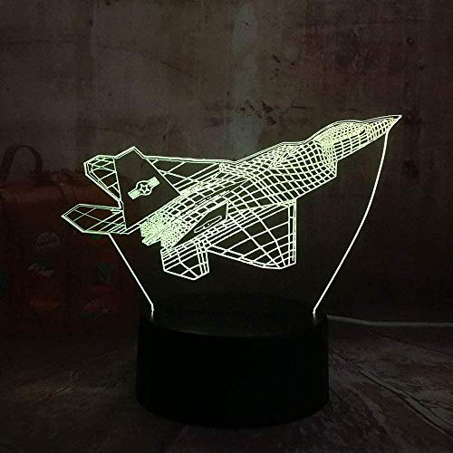 LSDAMN 3D Night Light Aircraft Geometric Ornaments 3D Illusion Lamp and 7 Color Change Decor Lamp with Remote Control for Living Bed Room Bar Christmas Gifts Decorations Children s Birthday Gifts