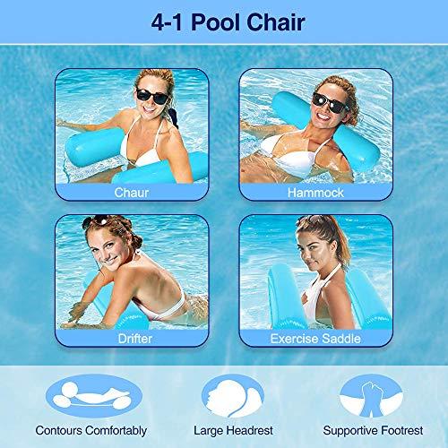 COWINN Aufblasbares Schwimmbett, Wasser-Hängematte 4-in-1Loungesessel Pool Lounge luftmatratze Pool aufblasbare hängematte Pool aufblasbare hängematt blau