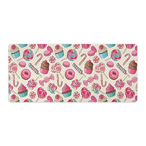 Extended Gaming Mouse Pad with Stitched Edges Waterproof Large Keyboard Mat Non-Slip Rubber Base Yummy Lollipop Cy Macaroon Cupcake Donut on Polka Dots Desk Pad for Gamer Office Home 16x35 Inch