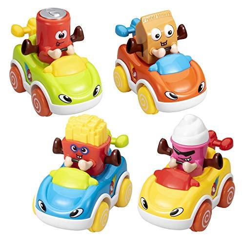 ASTOTSELL - Coches de Juguete para bebé, Paquete de 4 Coches de Dibujos Animados para niños pequeños, Juguetes para niños de 1 2 3 4 5 años, niños y niñas