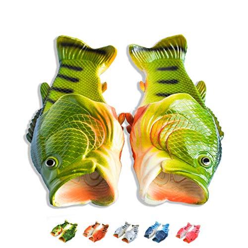 Coddies Fisch Flops | Strandschuhe, Flip Flops, Freizeitschuhe, Hausschuhe, Duschschuhe und Sandalen für Männer, Frauen und Kinder, Grün, 44/45 EU