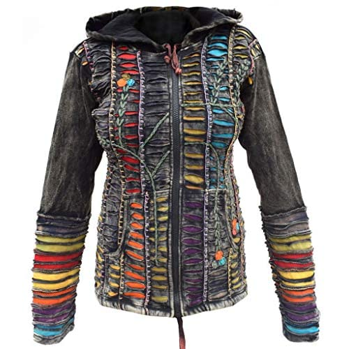 Gheri Women Cotton Razor Cut Embroidery Psychedelic Pixie Hoodie