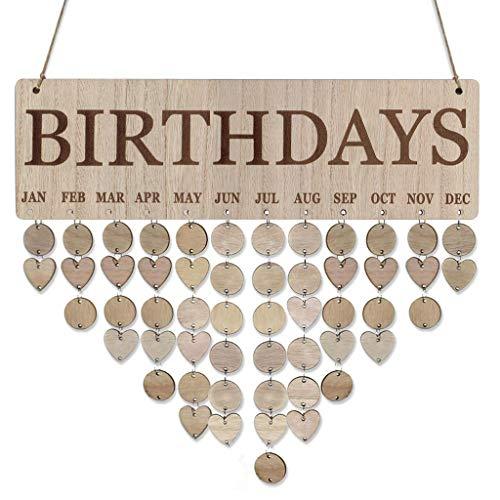 Janly Clearance Sale Placa de cumpleaños familiar para colgar en madera con recordatorio de cumpleaños, decoración del hogar para el día de Pascua (E)